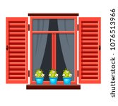 vector window with red shutters ... | Shutterstock .eps vector #1076513966