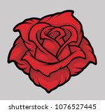 red rose. vector illustration. | Shutterstock .eps vector #1076527445