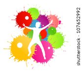 Colorful bright ink splashes and happy person- teenager or man in front of them - stock vector