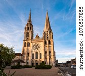 view of chartres cathedral west ... | Shutterstock . vector #1076537855