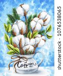Hand Painted Cotton In Vase...