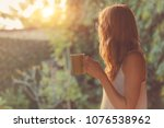 cute girl enjoying morning... | Shutterstock . vector #1076538962