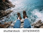 woman traveler in blue denim... | Shutterstock . vector #1076544455