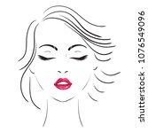 logo. young woman face.  | Shutterstock . vector #1076549096
