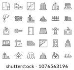 thin line icon set  ... | Shutterstock .eps vector #1076563196