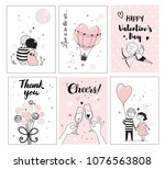 cute romantic card set  vector... | Shutterstock .eps vector #1076563808