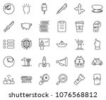 thin line icon set   around the ... | Shutterstock .eps vector #1076568812