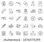 thin line icon set   heart... | Shutterstock .eps vector #1076575295