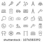 thin line icon set   drawing... | Shutterstock .eps vector #1076583392