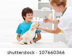 Pet taking medicine - young boy with his fluffy dog at the veterinary doctor - stock photo