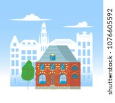 cartoon house isolated on the... | Shutterstock .eps vector #1076605592