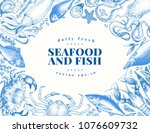 vector vintage seafood and fish ... | Shutterstock .eps vector #1076609732