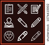 set of 9 writing outline icons... | Shutterstock .eps vector #1076610002