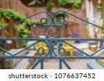 vintage artistic green wrought... | Shutterstock . vector #1076637452