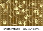 gold baroque floral 3d seamless ... | Shutterstock .eps vector #1076641898