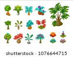 colorful fantasy tropical trees ...