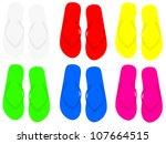 pair of flip flops over white... | Shutterstock .eps vector #107664515