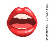 open mouth with white teeth ...   Shutterstock .eps vector #1076645408