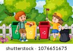 kids collecting trash in garden ... | Shutterstock .eps vector #1076651675