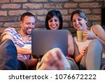 group of happy friends drinking ... | Shutterstock . vector #1076672222