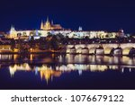great view on a prague castle... | Shutterstock . vector #1076679122