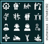 set of 16 people filled icons... | Shutterstock .eps vector #1076681582