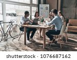 working day. group of young... | Shutterstock . vector #1076687162