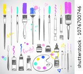 hand drawn art tools  painting...   Shutterstock .eps vector #1076700746
