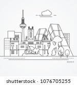 linear illustration of madrid ... | Shutterstock .eps vector #1076705255