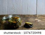 glass jar with fresh low salt...   Shutterstock . vector #1076720498