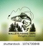 vintage walleye fishing emblem  ... | Shutterstock .eps vector #1076730848
