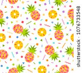 pineapple seamless pattern with ... | Shutterstock .eps vector #1076733548