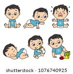 baby boy set in different poses ... | Shutterstock .eps vector #1076740925