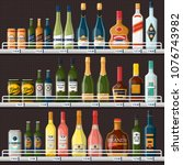 bar stall or alcohol store... | Shutterstock .eps vector #1076743982