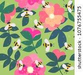 vector cute cartoon bee and... | Shutterstock .eps vector #1076755475