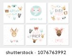 collection of 6 baby shower... | Shutterstock .eps vector #1076763992