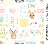 cute baby animals and lettering ... | Shutterstock .eps vector #1076764022