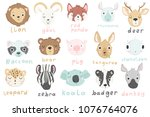 15 stickers with cute animals...   Shutterstock .eps vector #1076764076