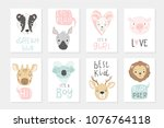 collection of 8 baby shower... | Shutterstock .eps vector #1076764118