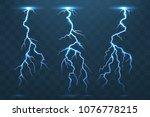 thunder bolt and lightnings ... | Shutterstock .eps vector #1076778215