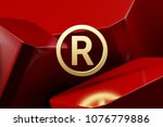 golden registered icon with the ... | Shutterstock . vector #1076779886