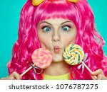 Girl Doll With Pink Hair With...