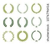 set of laurel wreaths. heraldic ... | Shutterstock .eps vector #1076796416