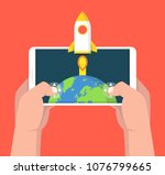 man holding smartphone and... | Shutterstock .eps vector #1076799665
