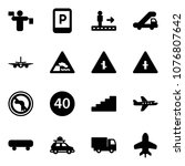 solid vector icon set   traffic ... | Shutterstock .eps vector #1076807642