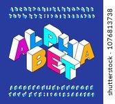 isometric alphabet font. three... | Shutterstock .eps vector #1076813738