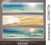 set of three horizontal beach...   Shutterstock .eps vector #107681726