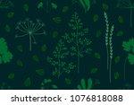 summer herbs carpet. seamless... | Shutterstock .eps vector #1076818088