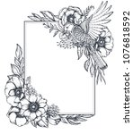 vector black and white floral... | Shutterstock .eps vector #1076818592