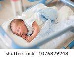 beautiful newborn baby boy ... | Shutterstock . vector #1076829248